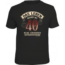 RAHMENLOS Original T-Shirt Das Leben beginnt mit 40