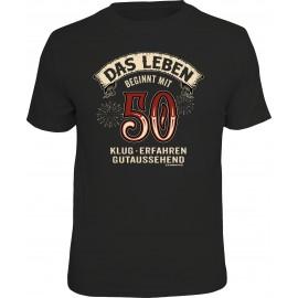 RAHMENLOS Original T-Shirt Das Leben beginnt mit 50