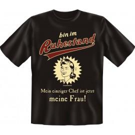 RAHMENLOS Original T-Shirt Premium Ruhestand - Mein Chef ist meine Frau